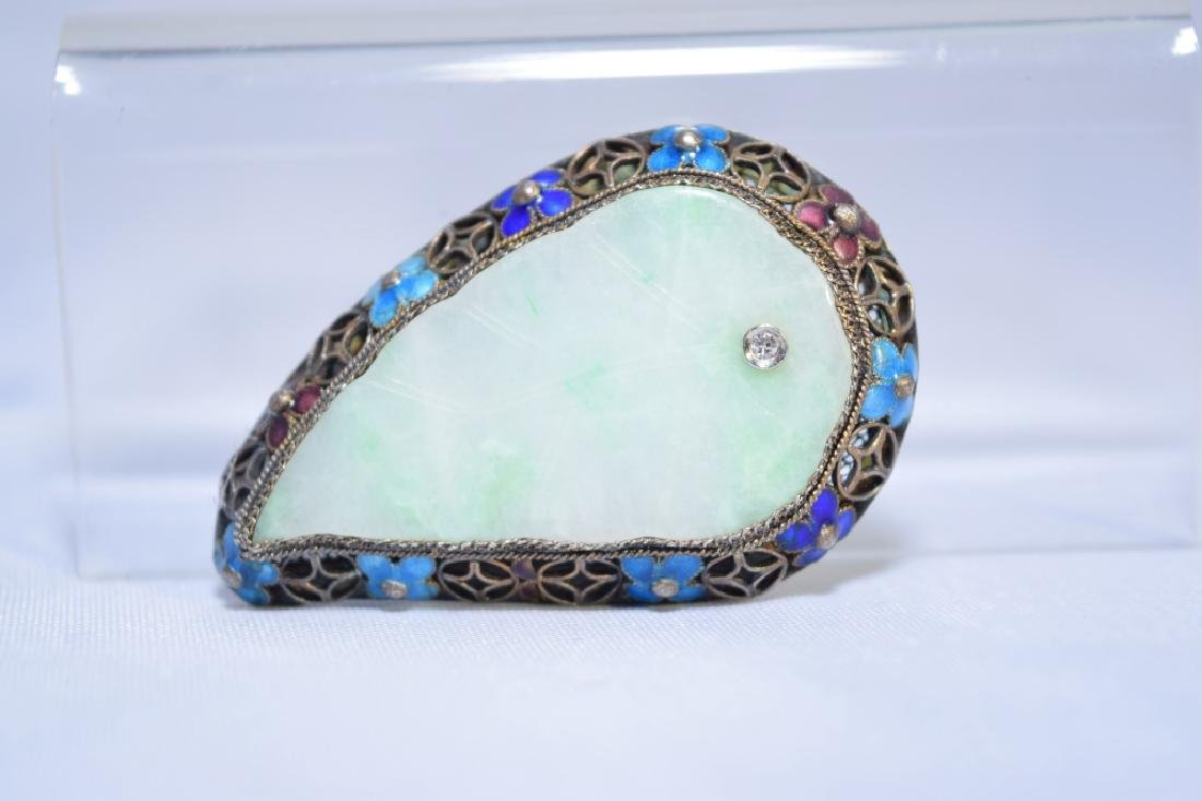 Chinese Enamel over Silver Jadeite Diamond Brooch