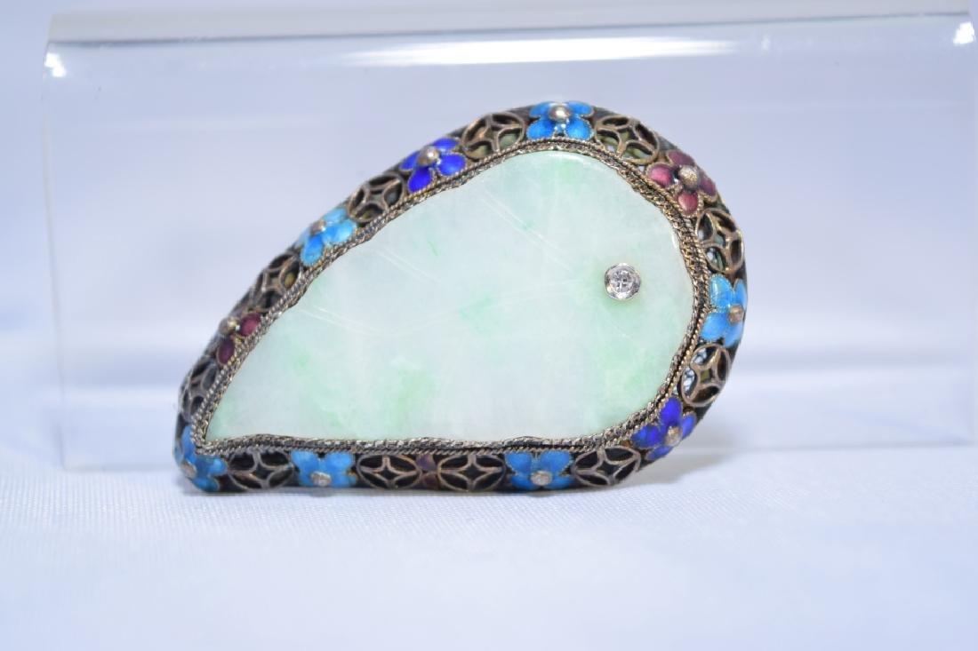 Chinese Enamel over Silver Jadeite Diamond Brooch