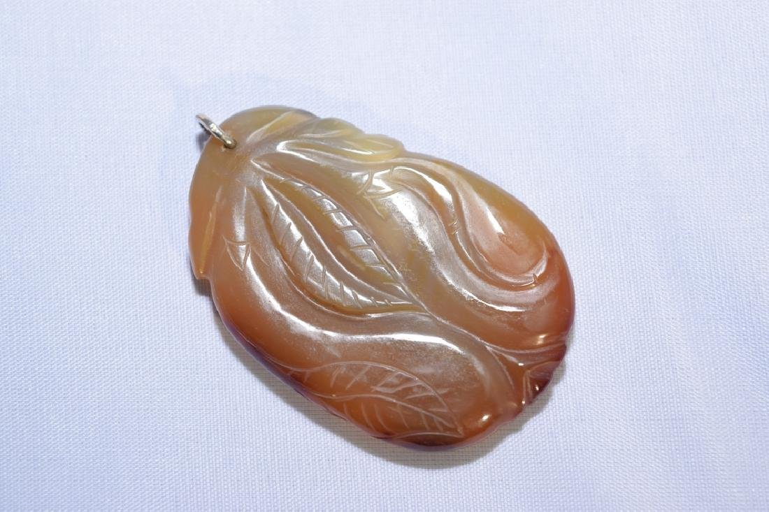 Chinese Agate Carved Melon Pendant