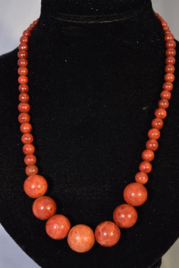 Orange Wood Bead Necklace