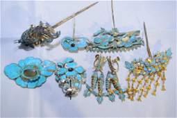 Group of Chinese Kingfisher Headdresses