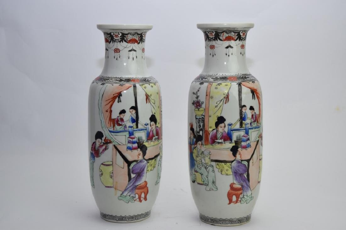 Pair of Republic Chinese Famille Rose Vases