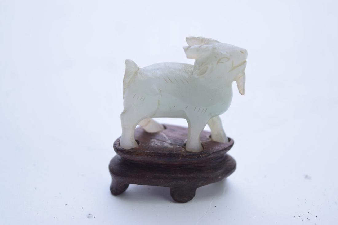 Qing Chinese White Jade Carved Goat