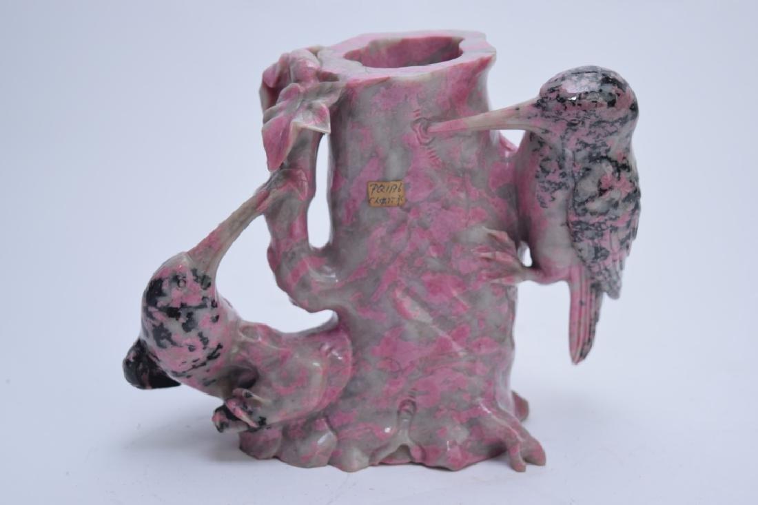 Chinese Rhodonite Carved Flower Vase