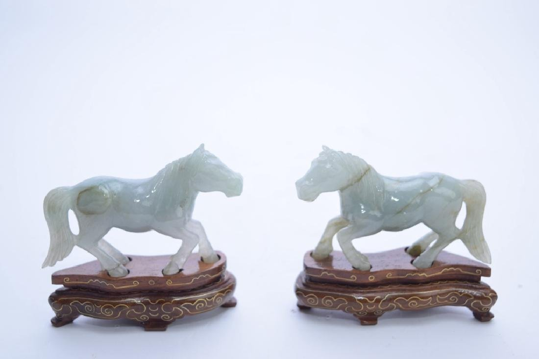 Pair of Chinese Jadeite Carved Horses on Stand