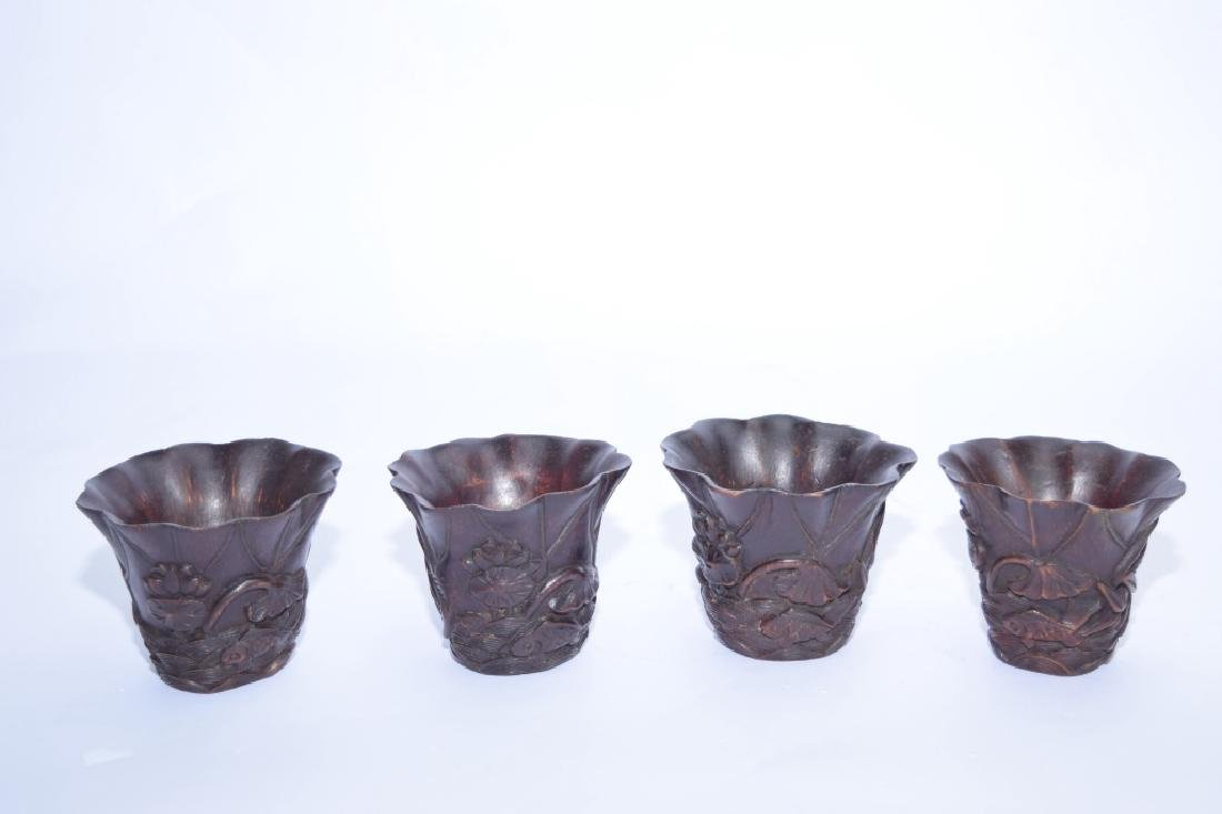 Set of Republic Chinese Bamboo Carved Cups