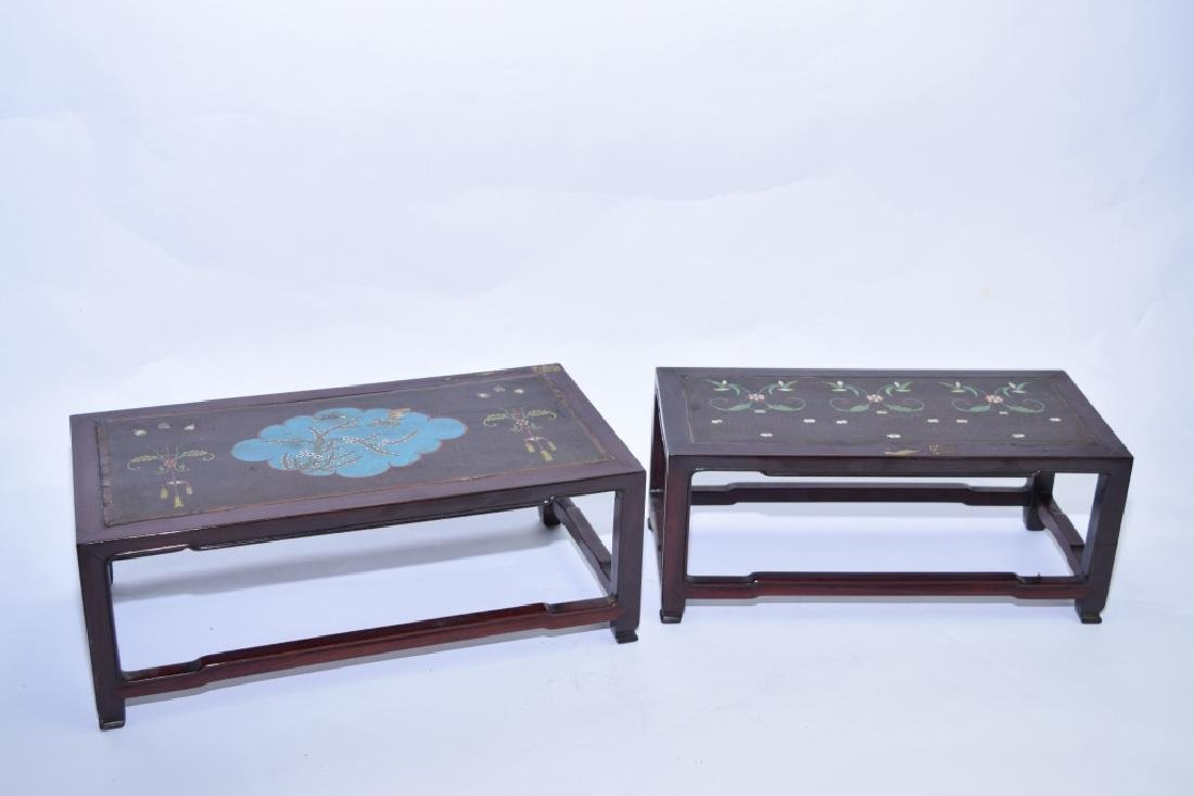 Two Chinese Hongmu Carved Cloisonne Inlaid Stands
