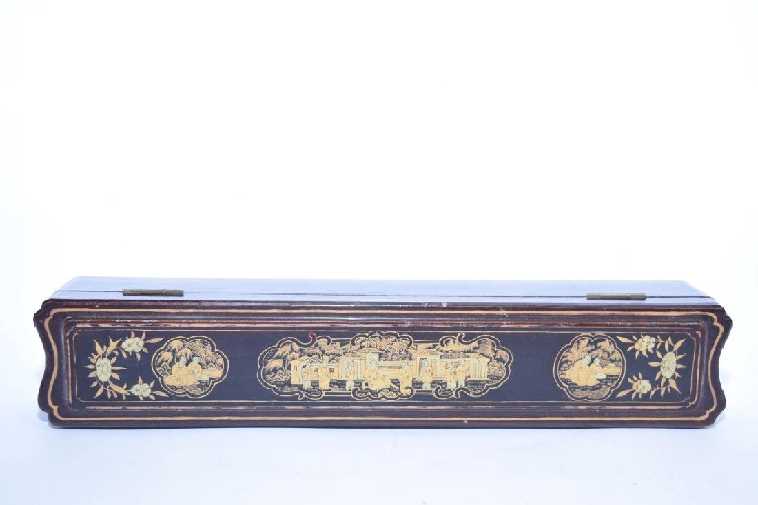 Qing Chinese Lacquer Gold Painted Fan Box