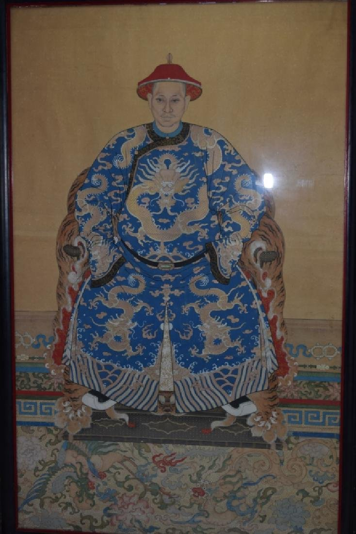Qing Chinese Ancestor Painting in Frame