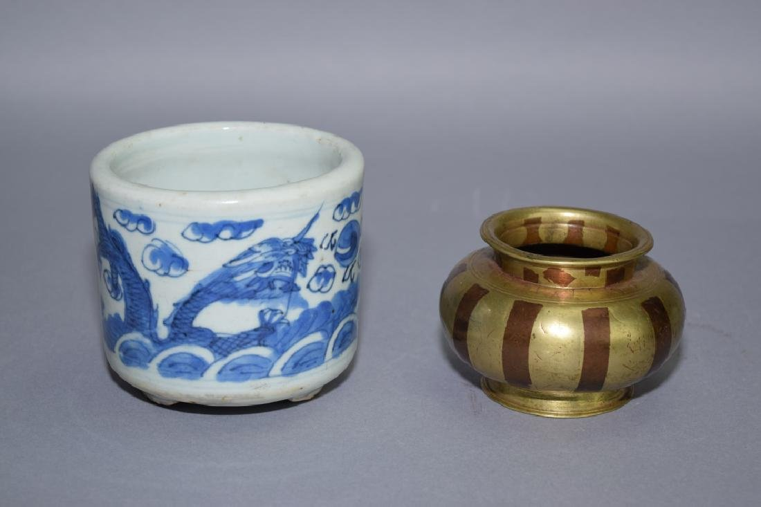 Qing Chinese B&W and Bronze Incense Burners