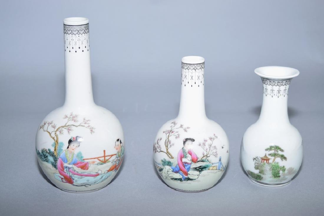 Three Chinese Famille Rose Vases