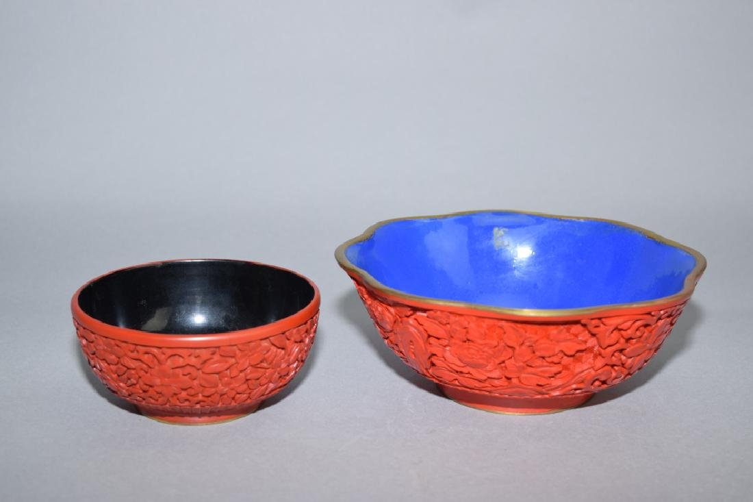Two Chinese Cinnabar Carved Bowls