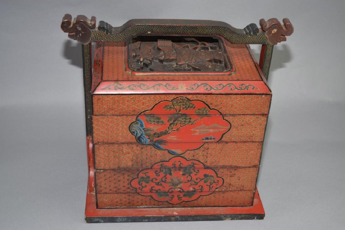 Qing Chinese Red Lacquer Filled Snack Box