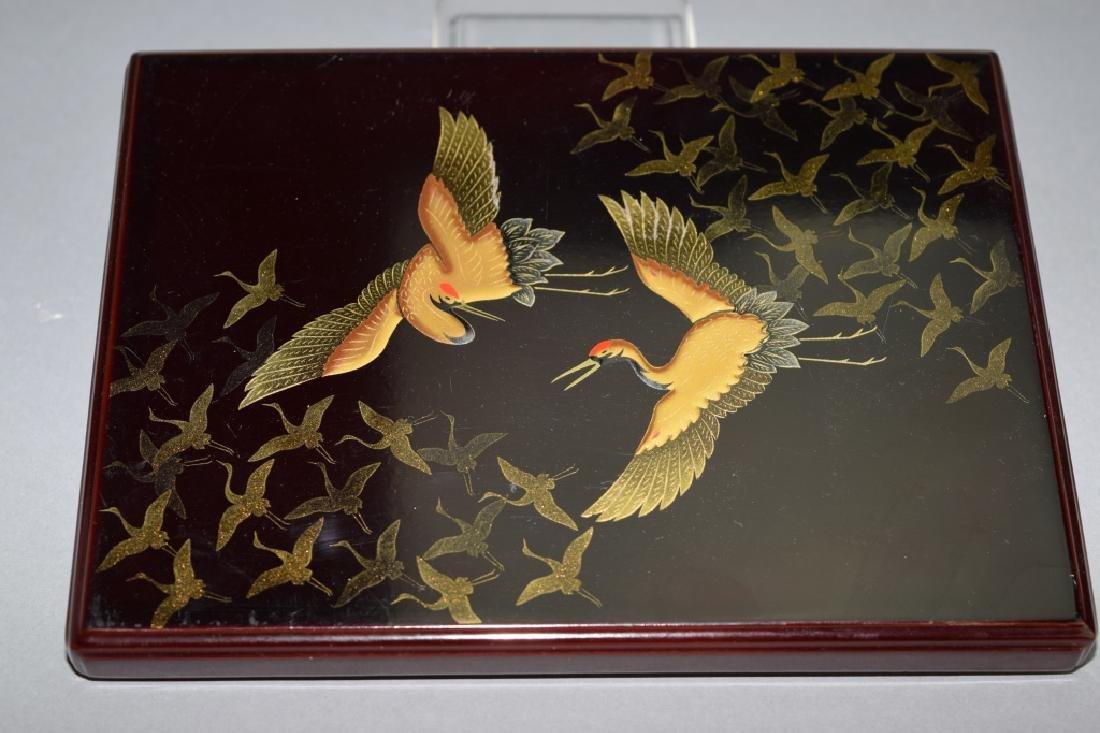 Japanese Black Lacquer Gold Crane Box