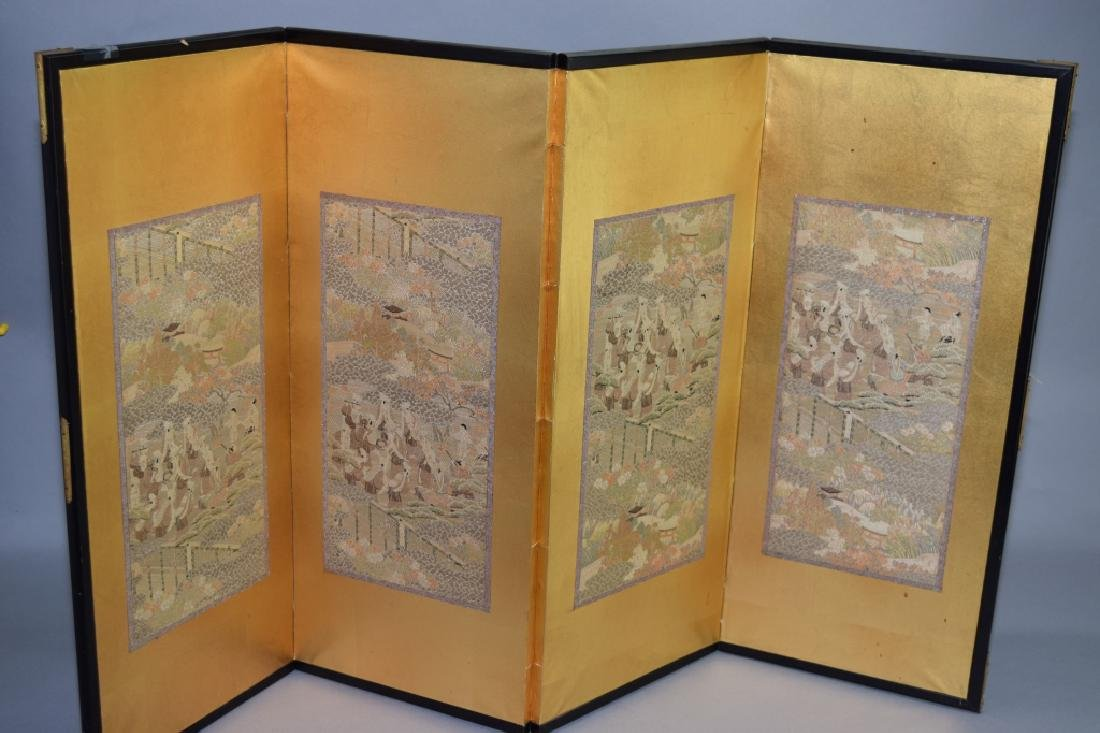 19th C. Japanese Embroidered Folding Screen