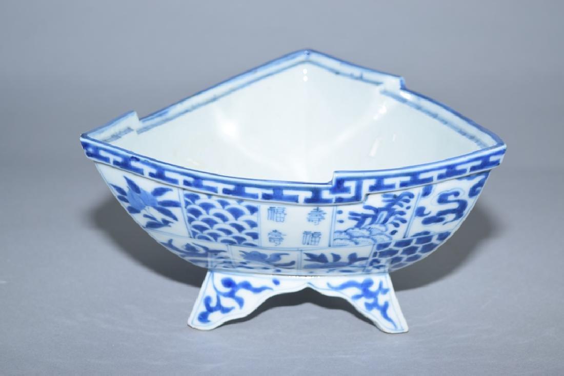 Japanese Blue and White Triangular Bowl