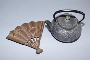 Japanese Metal Water Pot and Stand