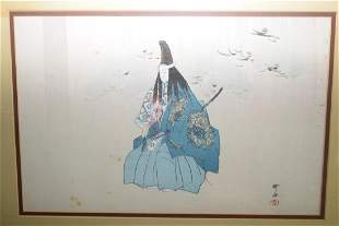 19th C Japanese Ukiyoe of a Warrior in Frame