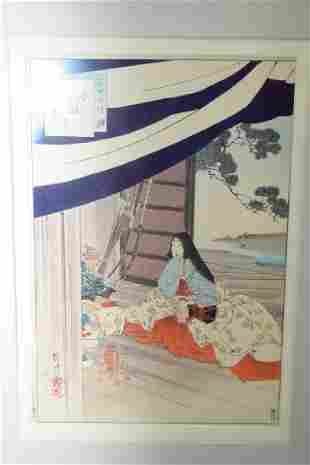 19th C Japanese Ukiyoe of a Lady in Frame