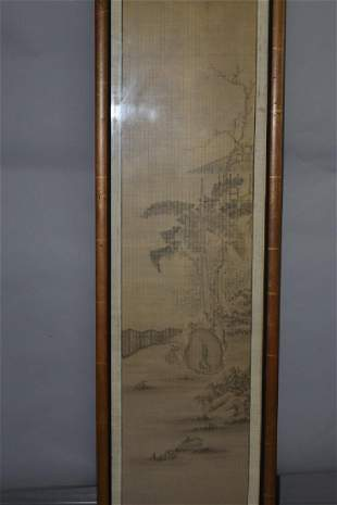 19th C Japanese Watercolor Painting in Frame