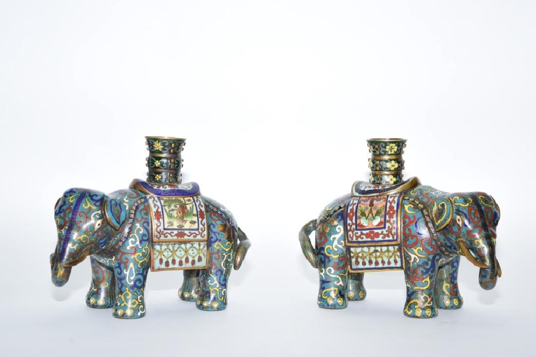 Pair of Late Qing Chinese Cloisonne Elephants