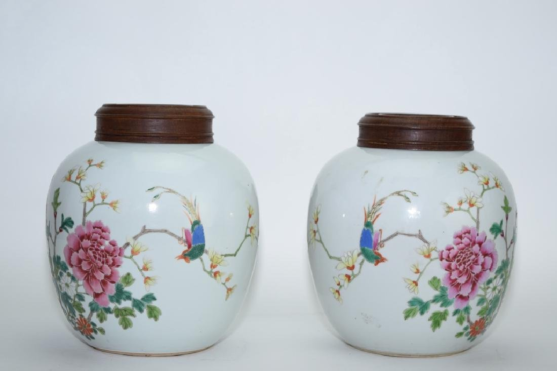 Pair of 18-19th C. Chinese Famille Rose Jars