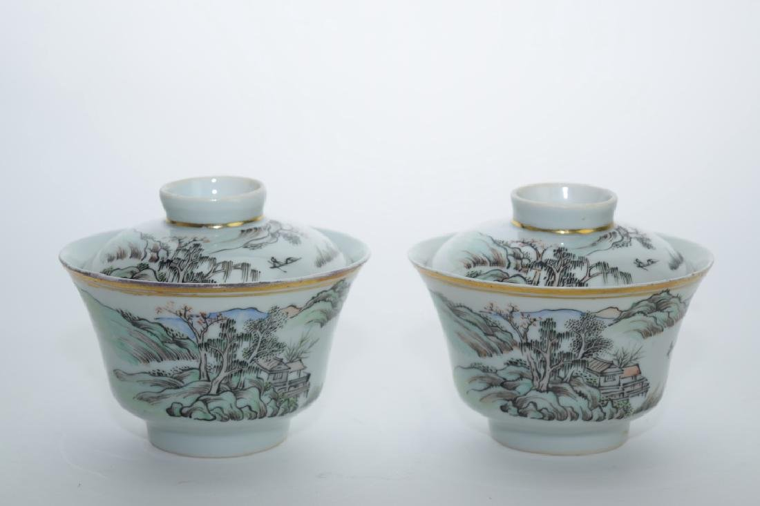 Pair of Republic Chinese Famille Rose Covered Cups