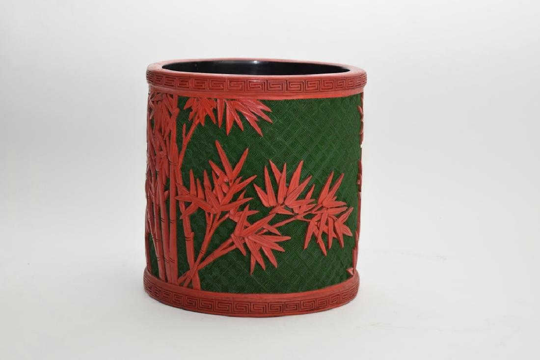Chinese Two-Tone Cinnabar Carved Brush Pot