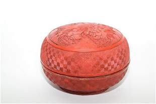 Qing Chinese Cinnabar Carved Round Box