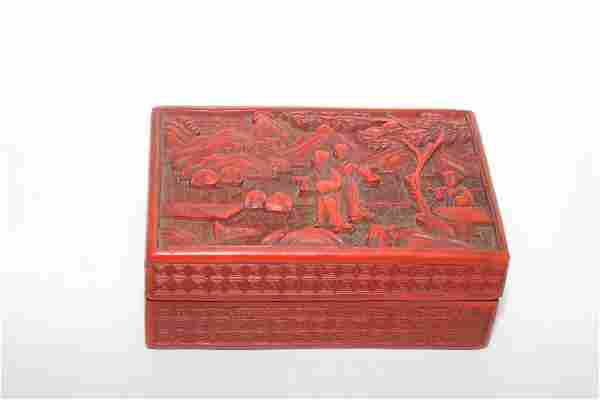 Qing Chinese Cinnabar Carved Rectangle Box