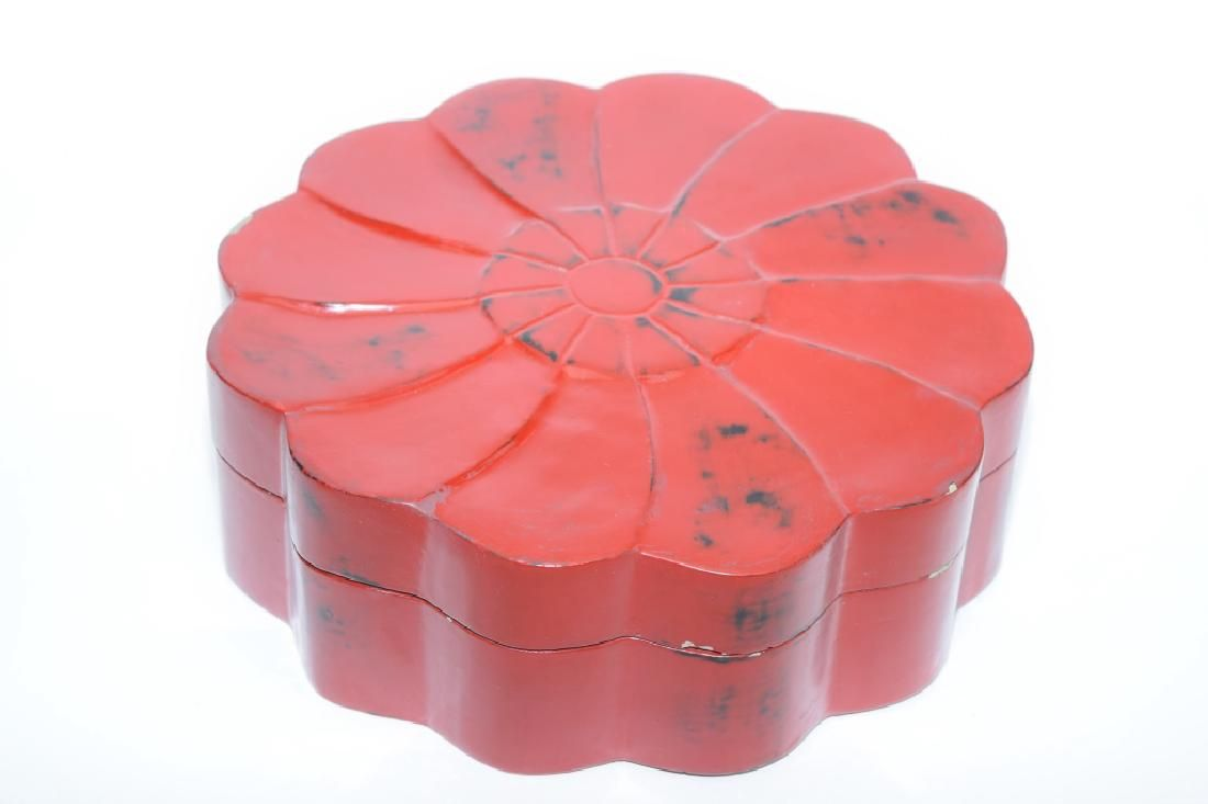 Qing Chinese Red Lacquer Lotus Flower Box