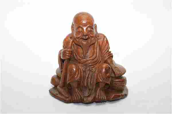 Qing Chinese Bamboo Carved Old Man