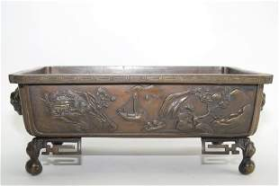 19th C Japanese Bronze Relief Carved Censer