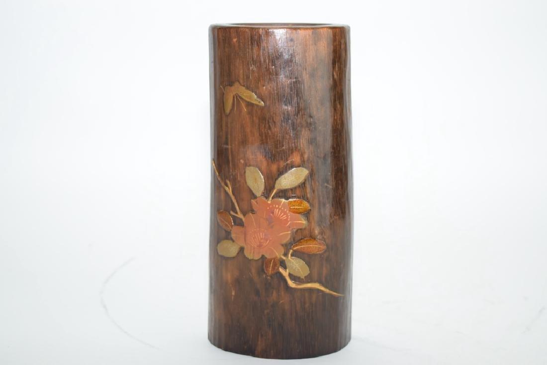 19th C. Japanese Partial Gilt Wood Carved Flower Vase