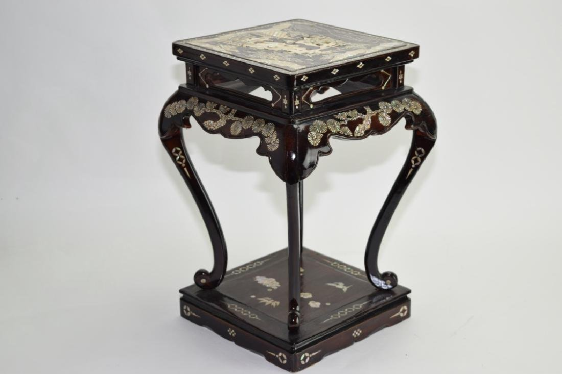 Qing Chinese Mother-of-Pearl Inlaid Lacquered Stool