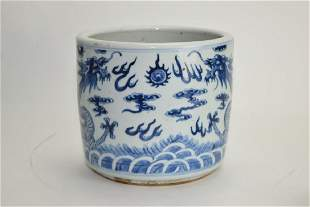 1819th C Chinese Blue and White Censer