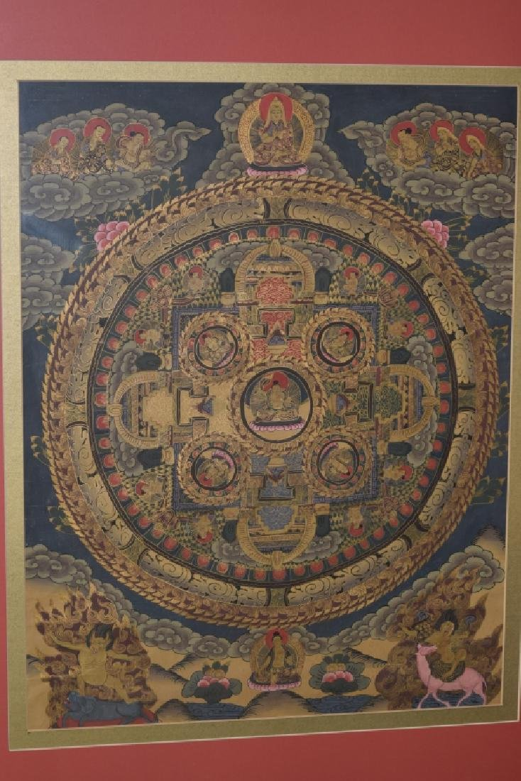 Qing Period Tibetan Thangka in Frame