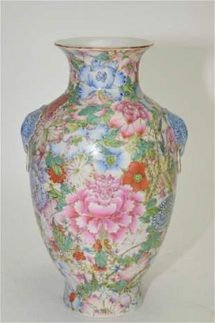 Qing Chinese Famille Rose Hundred Flowers Vase