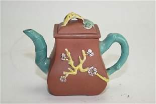 Qing Chinese Enameled YiXing ZiSha Teapot