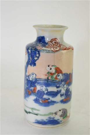 18th C Chinese Blue and White Enameled Vase