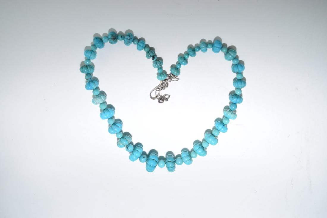 Chinese Natural Turquoise Carved Melon Bead Necklace