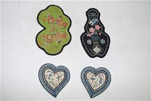 Four Qing Chinese Embroidered Pouches