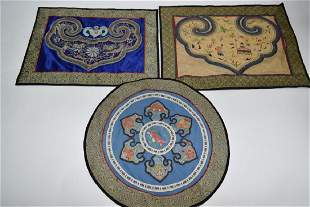 Three Qing Chinese Embroideries