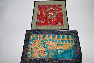 Two Qing Chinese Embroideries of Dragon