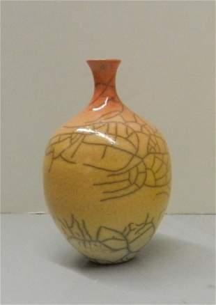Untitled Peach Raku Vessel by Pam Summers