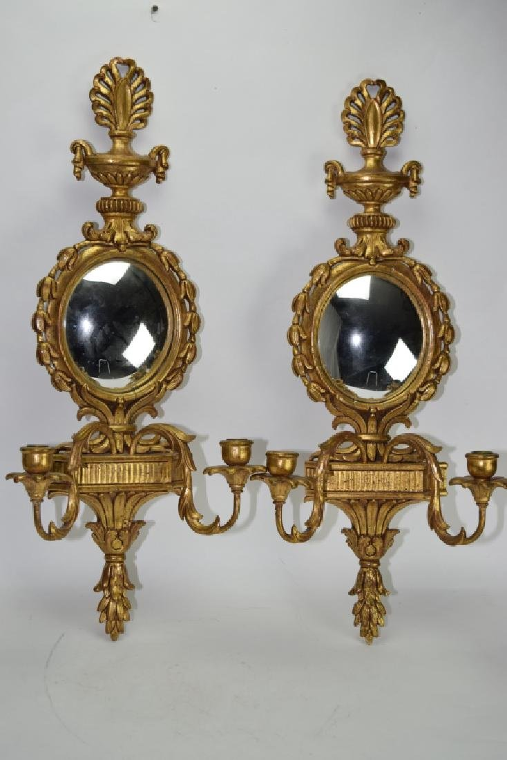 Pair of Italian Gilt Wood Carved Mirror Wall Sconces