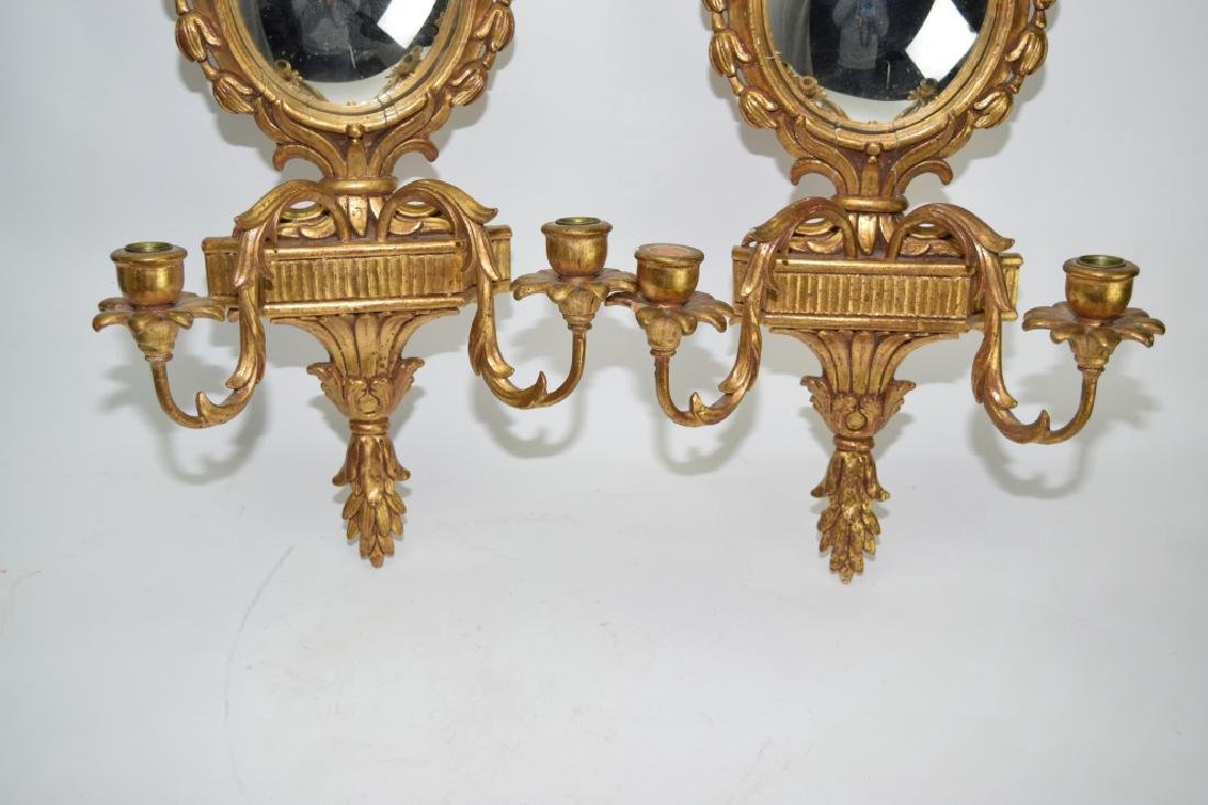 Pair of Italian Gilt Wood Carved Mirror Wall Sconces - 3