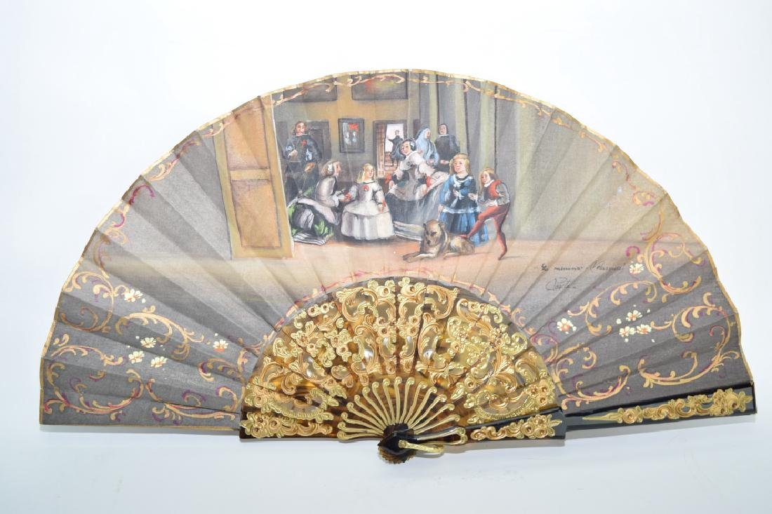 19th C. European Gilt Turtoise Shell Painted Fan