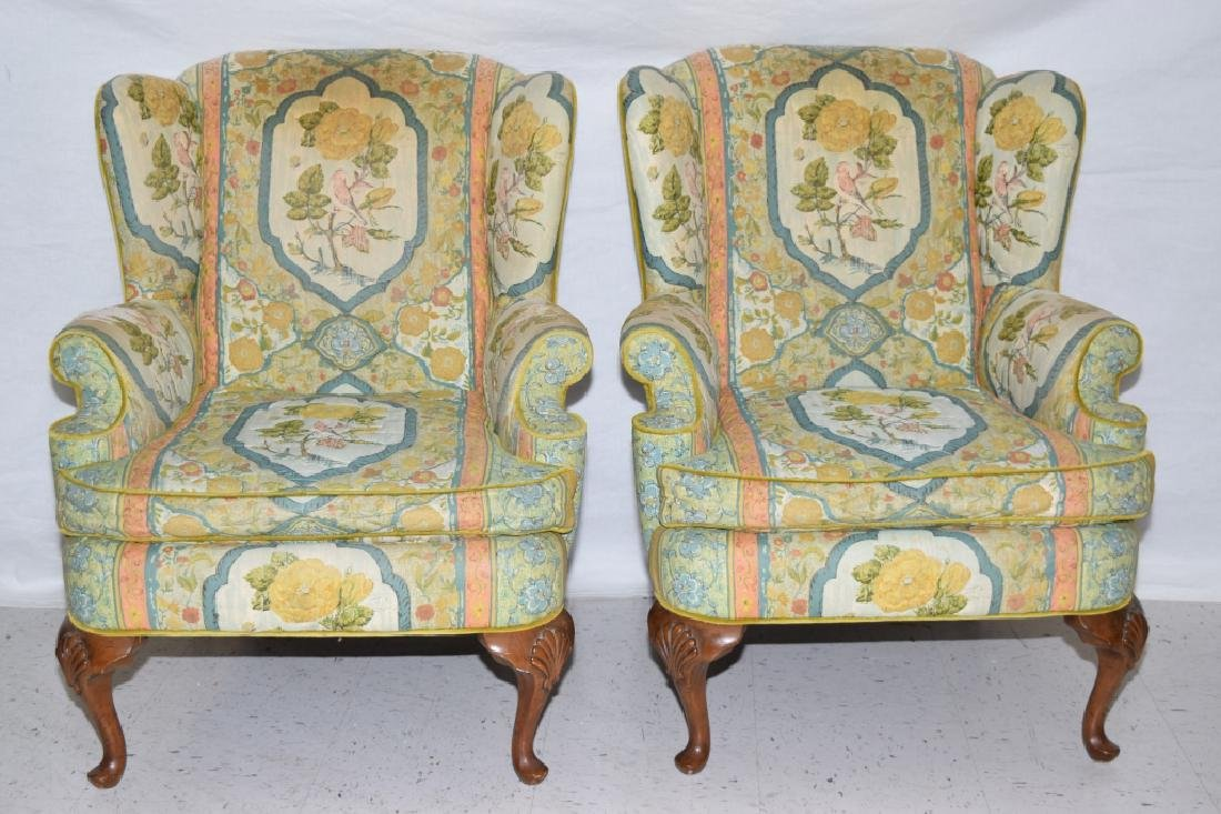 Pair of Bird Prints Upholstered Armchairs