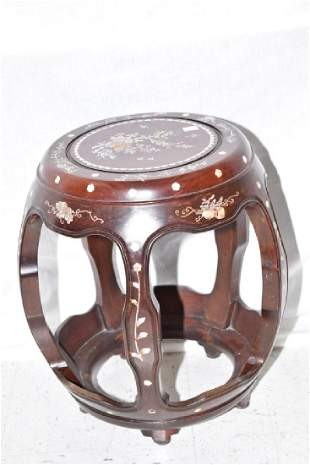 Chinese MotherofPearl Hongmu Carved Stool